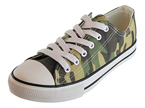 S-3 Women's Low Top Classic Canvas Fashion Sneaker (7 B(M) US, Camo Green) by S-3