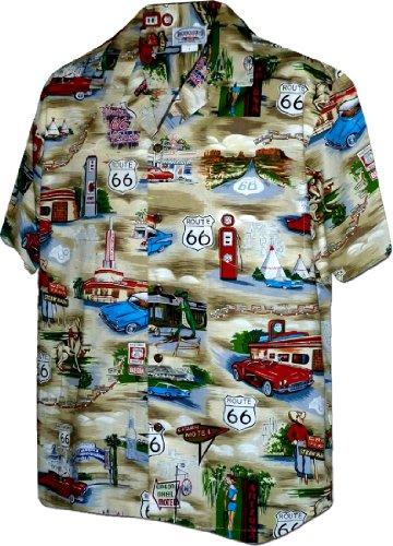 Hawaiian Street Shirt (Route 66 The Main Street of America Shirt Khaki 3XL 410-3812)