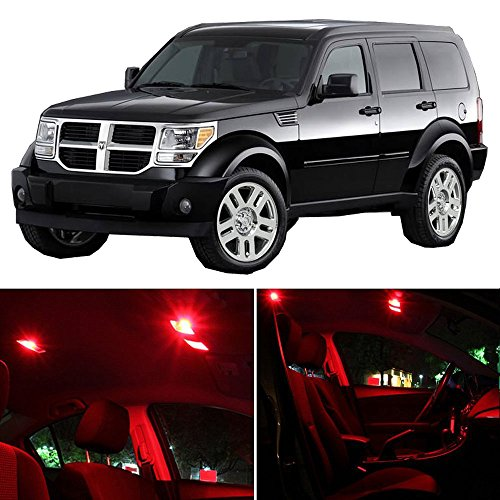 cciyu 15 Pack Red LED Bulb LED Interior Lights Accessories Replacement Package Kit Replacement fit for 2007-2011 Dodge Nitro