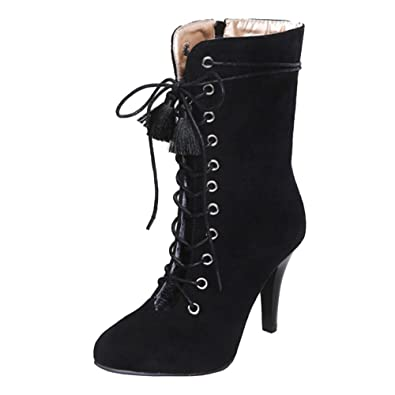 b4a53a0ccf SJJH Women Boots with Kitten Heel and Lace Up Sexy Hollowed-Out Boots with  Large