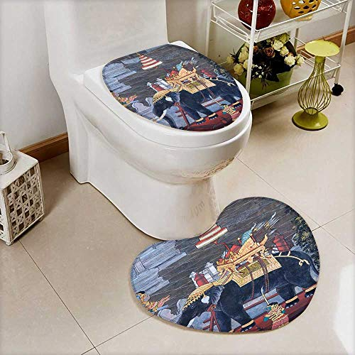 Analisahome 2 Piece Toilet lid cover mat set Elephant Traditional Thai style painting Ramayana in Wat Phra Kaew This is traditional Soft Shaggy Non Slip by Analisahome