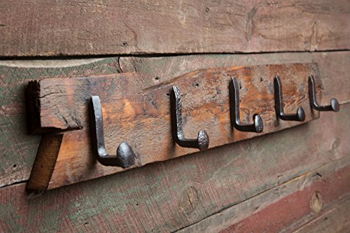Square Reclaimed Railroad Spike 5 Hook Rack