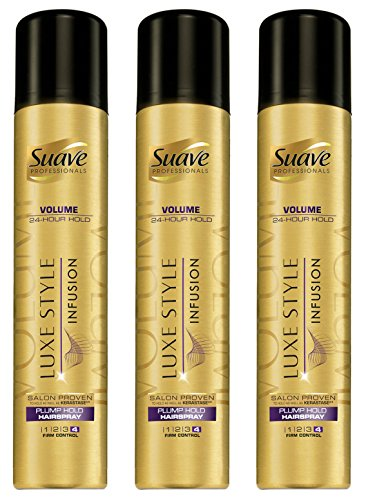 Suave Professionals Plump Hold Hairspray, Luxe Styling Infusion. Pack of 3 x 8.5 Oz.