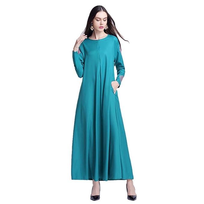 Mitlfuny Damen Muslim Lose Weich O-Ansatz Dubai Kleider FüR Frauen ...