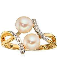 10k Yellow Gold Two Freshwater Cultured Pearl with Diamond Accent Ring, Size 7