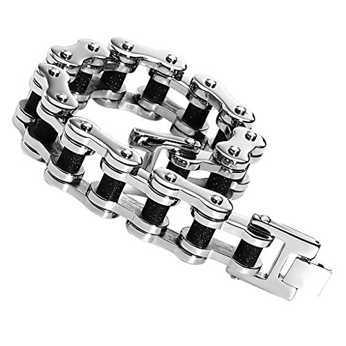 Daesar Mens Stainless Steel Bracelet Heavy Bracelet Bike Chain Black Gold Two Tone Length:23.4CM ()