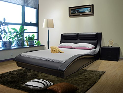 Greatime B1141 Eastern King Size Black Color Contemporary Platform Bed, no need of box spring