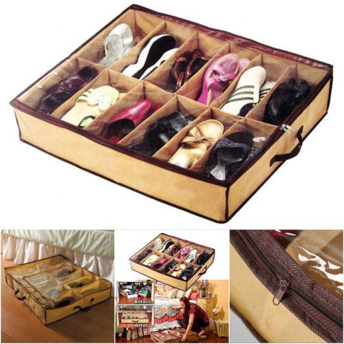 ASMGroup Hanging Shoe Organizer Home Storage Shoe Organizers 12 Cells Under Bed Bag Foldable Closet Drawer Box