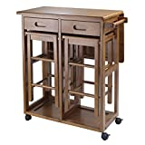 Fold Up Wooden Table and Chairs Winsome Space Saver with 2 Stools, Square