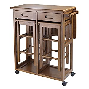 Compact wooden unit with matching stools