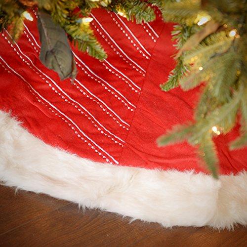 Seasons Designs 56 inch Red and White Striped Velvet Christmas Tree Skirt with White Faux Fur Border (56 Inch Red Velvet)