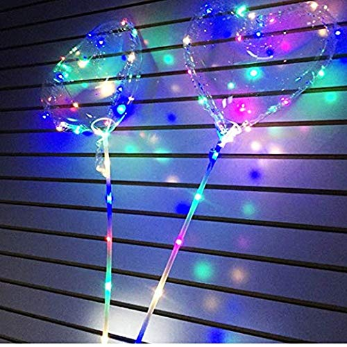LED Transparent Balloons Heart Love Shape for Birthday Wedding Valentine Halloween Christmas New Year Party Decoration US Seller (5) -