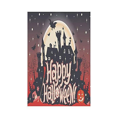 Polyester Garden Flag Outdoor Flag House Flag Banner,Halloween,Medieval Gothic Castle with Happy Halloween Typography Stars Bats Moon Cheerful,Multicolor,for Wedding Anniversary Home Outdoor Garden De ()