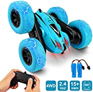 Remote Control Car, Bukm RC Stunt Cars Toy, 4WD 2.4Ghz Double Sided 360° Flips Rotating Vehicles, Off Road Hig