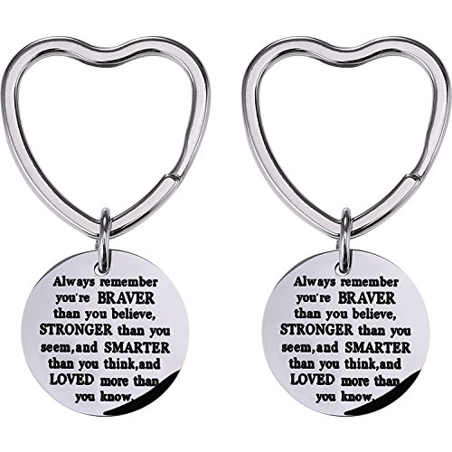 Mtlee 2 Pack You Are Braver Stronger Smarter Than You Think Keychain, Pendant Key Chain Ring Inspirational Gift for Men Women -