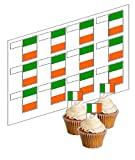 12 Irish Flag Cupcake Picks! - 'Stand Up' ricepaper cake decorations (uncut)