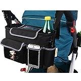 Vine Pushchair Organiser Storage Baby Stroller Organiser Diaper Bag with Mobile Phone Cup Bottle Holder Changing Bag(Black monkey)