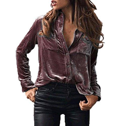 Primavera Costume Shirt Autunno Elegante Scamosciato Manica Bavero Purple Donna Moda Donne Camicie Moda Ragazza Casual Tops Light Bluse Larghi Camicia Solido Lunga t8qEwB