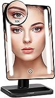 Bestope miroir maquillage lumière 24 LED 10X miroir grossissant éclairé bouton tactile,Rotation 180°Alimentation double,Miroir cosmétique haute définition de table (noir)
