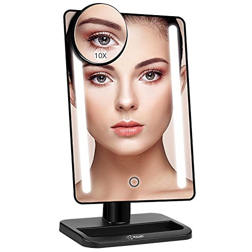 BESTOPE 24 LED Makeup Mirror 12 inch Larger Lighted Mirror, Detachable 10X Magnifying Mirror, Dimmable Touch Sensor Switch, 180° Adjustable Rotation, Dual Power Supply