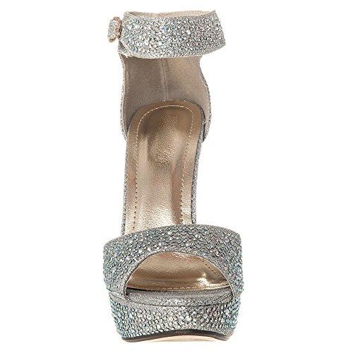 Plata Toe Piedras Con Diva Alto Adornados Miss Mujer Plataforma Pequeñas Correa Sandalias Diamante Open Talón Zapatos De Tobillo TwSUq