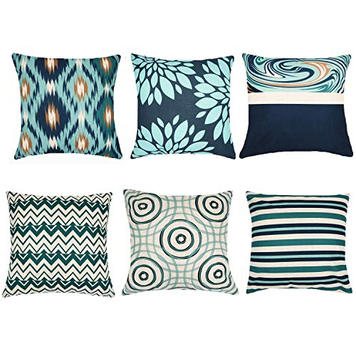 Decorative Throw Pillow Covers 18 x 18 Inch Double Side Design, ZUEXT Set of 6 Cotton Linen Indoor Outdoor Pillow Case Cushion Cover for Car Sofa Home Decor (Solid Dark Navy Teal Beige, Mix and Match) (Modern Design Patio)