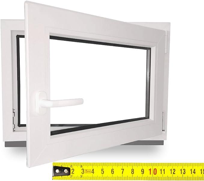 Fenster Kellerfenster Kunststofffenster Breite: 105 cm BxH: 105x70 cm DIN Links 2 fach Verglasung Alle Gr/ö/ßen Dreh Kipp Wei/ß Premium