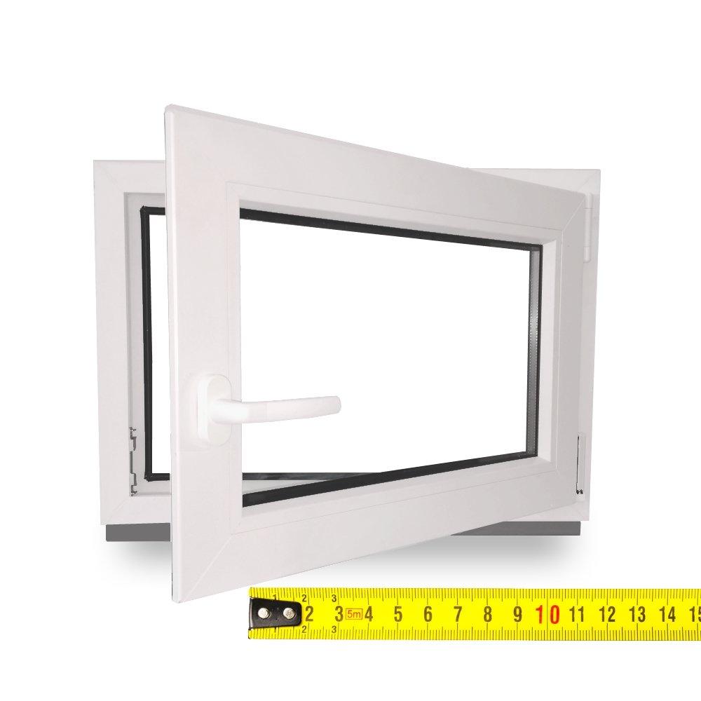 wei/ß DIN Rechts Wunschma/ße ohne Aufpreis Fenster 2-Fach Verglasung BxH: 60X45 cm Lagerware Kellerfenster Kunststoff