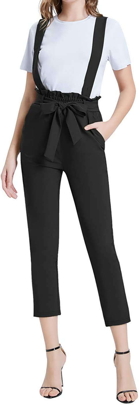 GRACE KARIN Womens Pants Capri Overalls Elastic Waist Belt Decorated Skinny Cropped Length