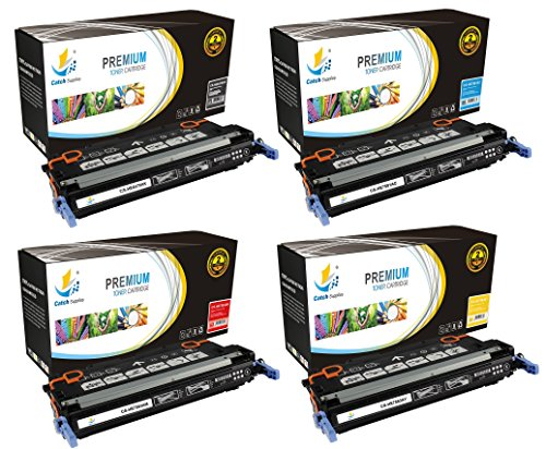 Para Laserjet (Catch Supplies 501A / 503A 4-Pack Premium Q6470A Q7581A Q7582A Q7583A Replacement Toner Cartridge Compatible with HP Color LaserJet 3800 3800N, CP3505 CP3505N Printers |Black, Cyan, Yellow, Magenta|)