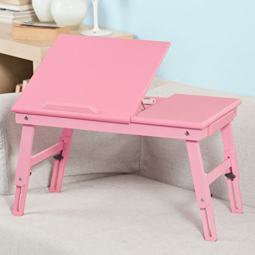 Sobuy folding wood food breakfast table bed tray table for Cuisine table retractable