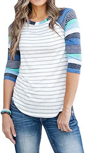 MEROKEETY Women's Striped Contrast Color Tops 3/4 Sleeve Baseball Tee Shirt Blouse