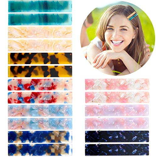 18 Pieces Acrylic Resin Hair Clips Acetic Acid Hairpins Duckbill Hair Clips Leopard Print Hair Barrettes for Women Girl Hairstyle