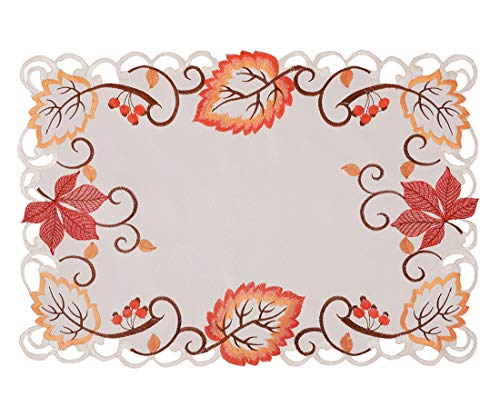Simhomsen Decorative Thanksgiving Maple Leaves Table Placemats (13 × 19 Inch Set of 4) - Fabric Maple Table