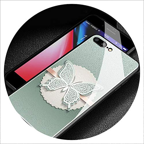 Filigree Christmas Cards - Purple Silver Lace Filigree Butterfly Pattern Tempered Glass Soft Silicone Phone Case for iPhone 6 6s 7 8 Plus X XR XS MAX,TGLASS 23-Glass,for 7Plus 8Plus
