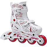 Roller Derby Girls Tracer Adjustable Inline Skate, White/Red