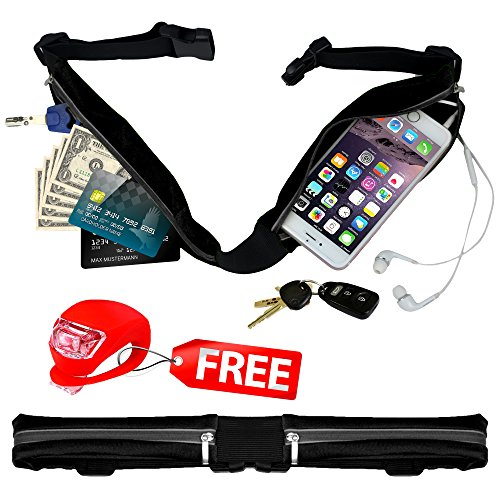 Belt4Run Running Activity Belt: Spacious, Lightweight, Waterproof Travel Fanny Pack with 2 Zippered Pockets, Adjustable to 42.5 Inch Waist in 4 Colors (Elite Waist Pack)