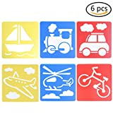 Haishell Washable Plastic Children's Drawing Template Board Set Toys Kids Painting Stencils,Transport,Pack of 6