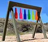 Shooting Target Stand + Resetting Targets | High Visibility Auto Reset Reactive Shatterproof Bottles | Target Holder For Gun Range | 3' x 3' Folding Stand | Gifts For Men | Target-Factory/MarksmanSKLZ