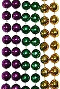 "Mardi Gras, Purple, Green, and Gold Metallic Beads, 12 mm, 33"", 25 Dozen (300pcs)."