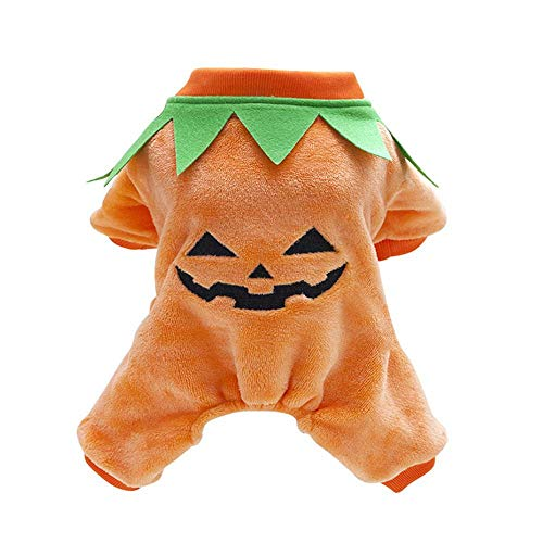 FOONEE Dog Pumpkin Costume, Pet Clothes Dog Halloween Costume,Autumn Winter Warm Jumpsuit Outfit Apparel ()