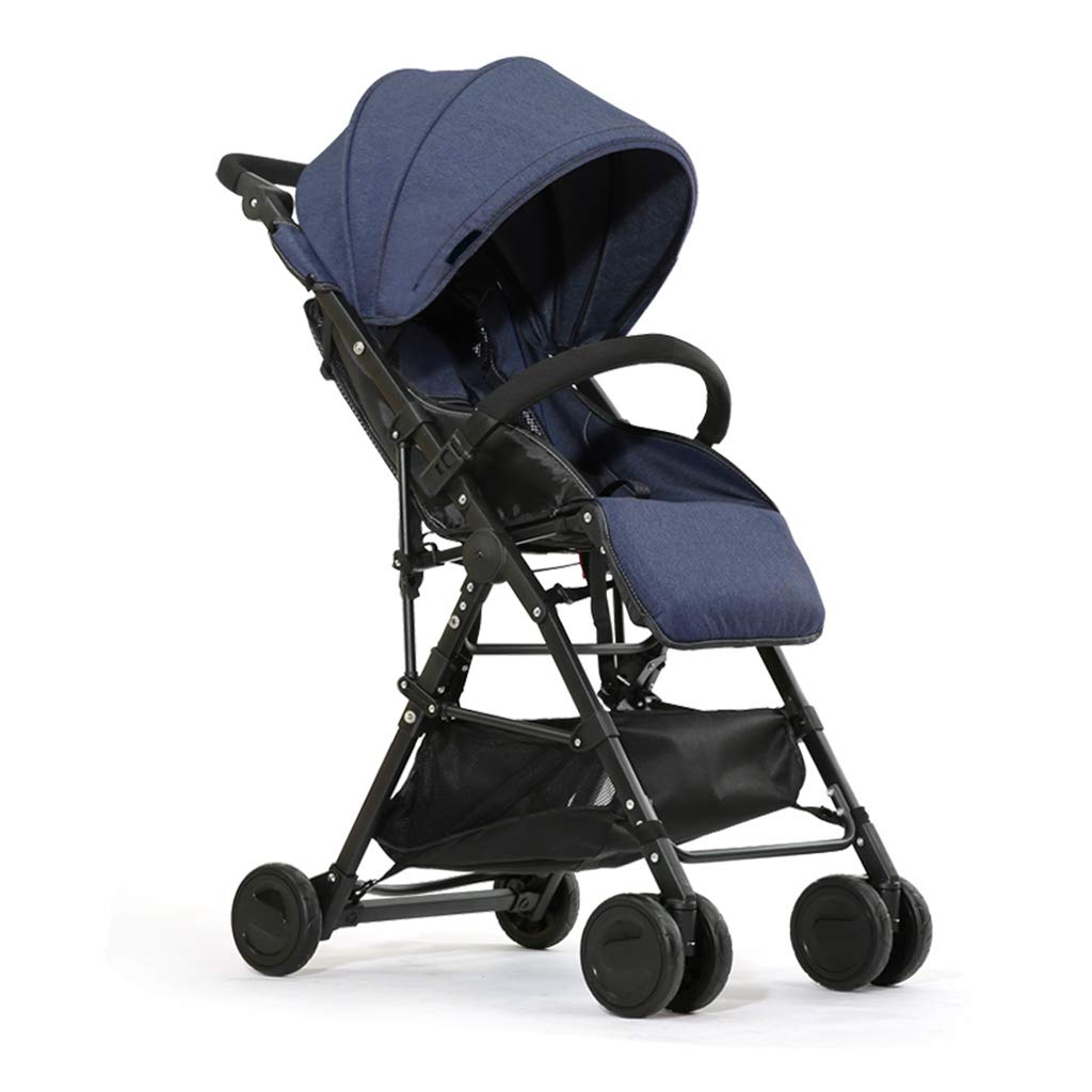 Strollers Accessories Baby Ultra Light Portable can sit Reclining Folding high Landscape (Color : Dark Blue)
