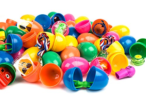 Toy Filled Easter Eggs by Neliblu Bulk Pack 50 Bright and Colorful 2.5 Pre Filled Easter Eggs Surprise, Filled With Popular Toys Great for Easter Baskets, Easter Egg Hunts, Party Favors and Carnivals