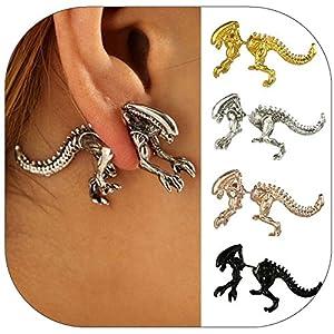 DDLBiz Women Girls Funny Dinosaur Skeleton Punk Piercing Body Stud Earrings (C)