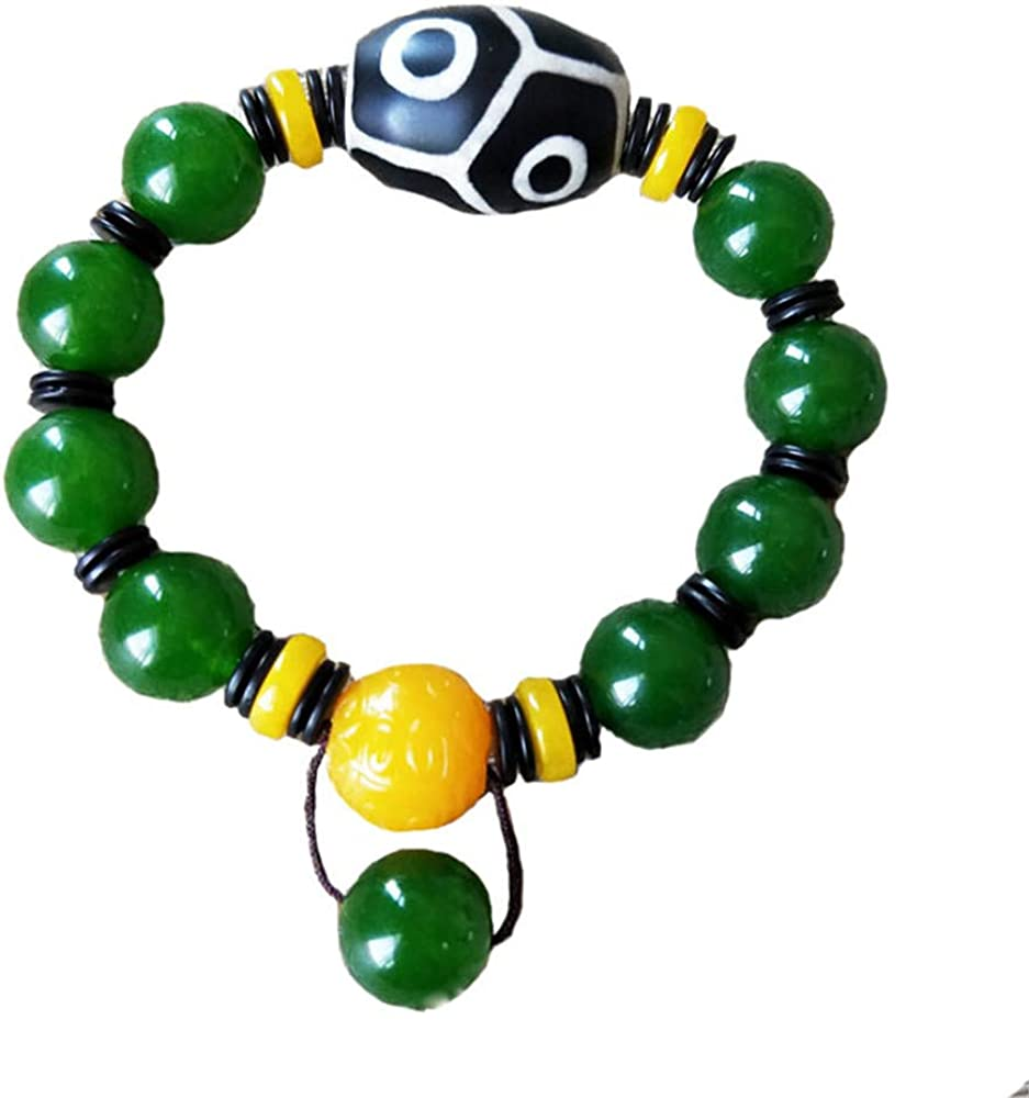 Prime Fengshui Protective Round Black White Tibetan Dzi Beads Bracelet Amulet Bangle Attract Positive Energy and Good Luck