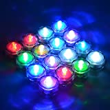 Waterproof Underwater Wedding Candle Light Sub LED Battery Candle Light (RGB Color) Flameless Tealight-12 Pack