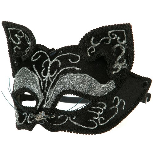 - Glitter Cat Mask - Black Silver OSFM