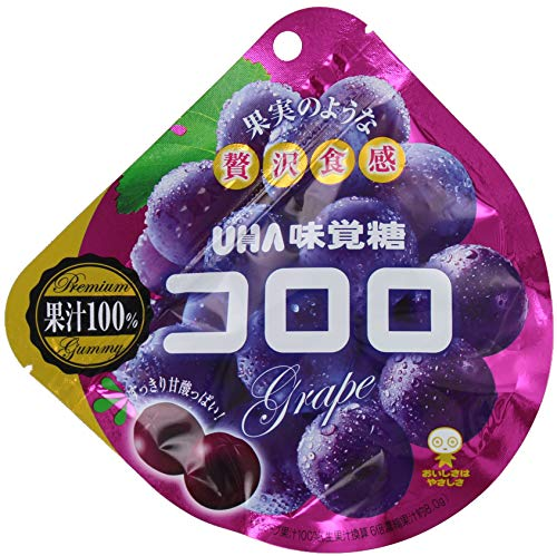 (Pack of 6) Japanese UHA Kororo Gummy Candy - Grape Flavor 40g