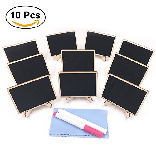 E-Conoro Mini Chalkboard (Pack of 10) with Support Easel, 2 Chalkboard Markers and Cleaning Cloth for Wedding Party Table Numbers Place Card Favor Tag Plant Decorative Sign food labels for party (Chalkboard Cloth)