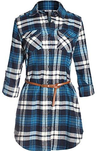 Dress Checker Cotton - BodiLove Women's Long Sleeve Belted Plaid Flannel Shirt Dress Blue Grey S